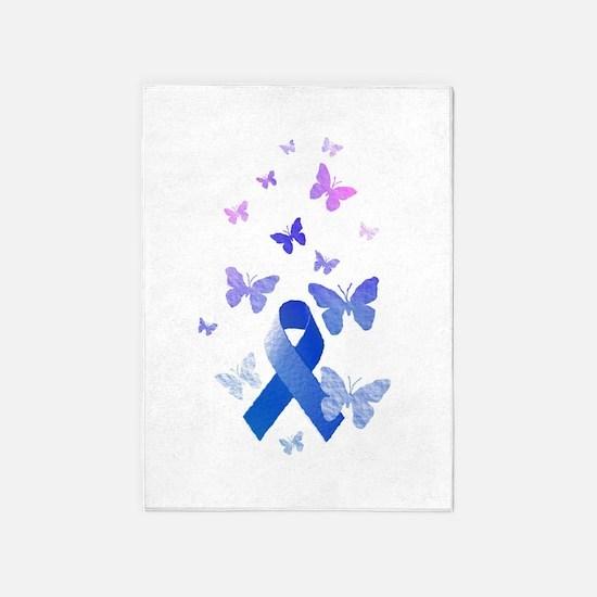 Blue Awareness Ribbon 5'x7'Area Rug