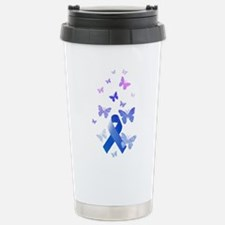 Blue Awareness Ribbon Travel Mug