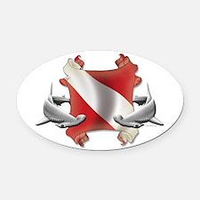 SCUBA Hammerheads Oval Car Magnet