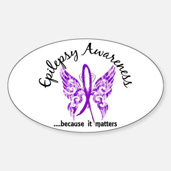 Epilepsy Butterfly 6.1 Sticker (Oval)