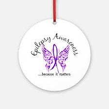 Epilepsy Butterfly 6.1 Ornament (Round)