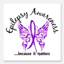 "Epilepsy Butterfly 6.1 Square Car Magnet 3"" x 3"""