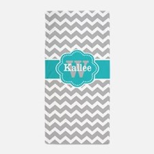 Gray Teal Chevron Personalized Beach Towel