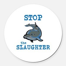 Dolphin Slaughter Round Car Magnet