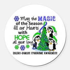 Holiday Penguins EDS Round Car Magnet