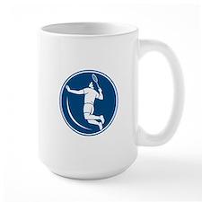 Badminton Player Jump Smash Circle Icon Mugs