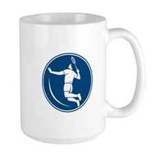 Badminton Player Jump Smash Circle Icon Mugs