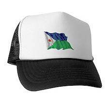 Djibouti Flag (Distressed) Trucker Hat