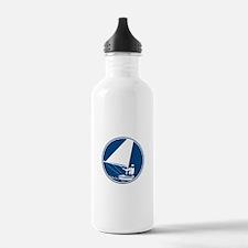 Sailing Yachting Circle Icon Water Bottle