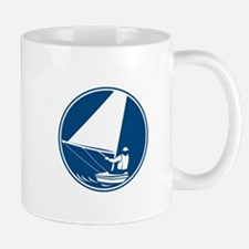 Sailing Yachting Circle Icon Mugs