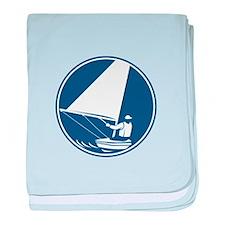 Sailing Yachting Circle Icon baby blanket