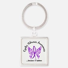 Cystic Fibrosis Butterfly 6.1 Square Keychain