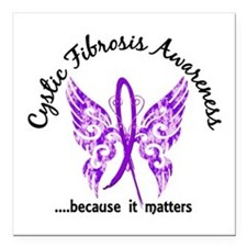 """Cystic Fibrosis Butterfl Square Car Magnet 3"""" x 3"""""""