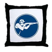 Trap Shooting Shotgun Circle Icon Throw Pillow