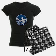Water Polo Player Throw Ball Circle Icon Pajamas