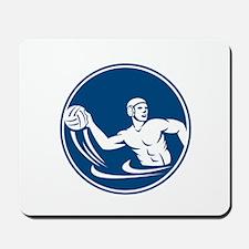 Water Polo Player Throw Ball Circle Icon Mousepad