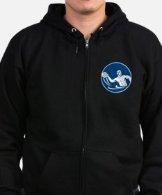 Water Polo Player Throw Ball Circle Icon Zip Hoodie