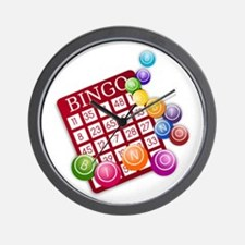 Las Vegas Bingo Card and Bingo Balls Wall Clock