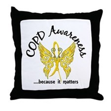 COPD Butterfly 6.1 (Gold) Throw Pillow