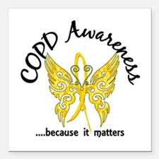 """COPD Butterfly 6.1 (Gold Square Car Magnet 3"""" x 3"""""""
