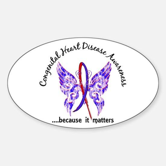 Congenital Heart Disease Butterfly Sticker (Oval)
