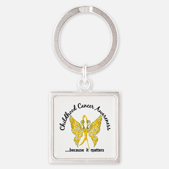 Childhood Cancer Butterfly 6.1 Square Keychain