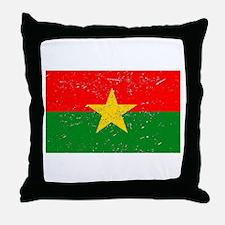 Burkina Faso Flag (Distressed) Throw Pillow