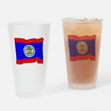 Belize Flag (Distressed) Drinking Glass