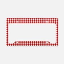 Red Gingham Cloth License Plate Holder