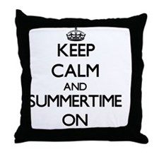 Keep Calm and Summertime ON Throw Pillow
