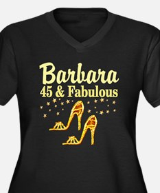 45 AND FABUL Women's Plus Size V-Neck Dark T-Shirt
