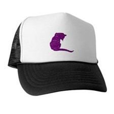 Distressed Purple Cat Trucker Hat