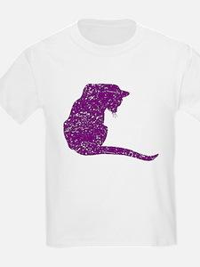Distressed Purple Cat T-Shirt