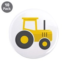 """Yellow Tractor 3.5"""" Button (10 pack)"""