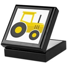 Yellow Tractor Keepsake Box