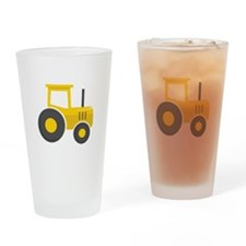 Yellow Tractor Drinking Glass