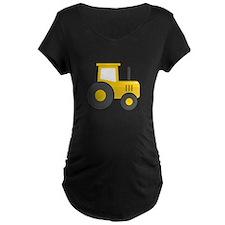 Yellow Tractor Maternity T-Shirt