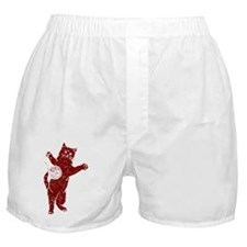 Distressed Maroon Cat And Yarn Boxer Shorts