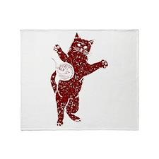 Distressed Maroon Cat And Yarn Throw Blanket