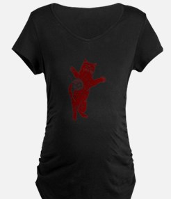 Distressed Maroon Cat And Yarn Maternity T-Shirt