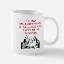 a funny bridge joke Mugs