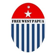 Free West Papua Morning Star Flag Ornament (oval)