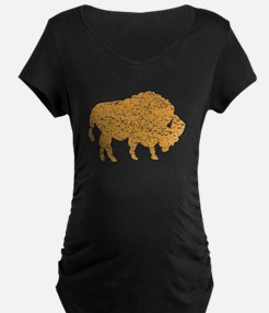 Distressed Brown Bison Maternity T-Shirt