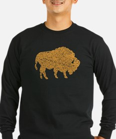 Distressed Brown Bison Long Sleeve T-Shirt