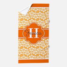 Yellow Orange Trim Floral Custom Monog Beach Towel