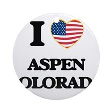 I love Aspen Colorado USA Design Ornament (Round)