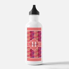 Coral Trim Floral Patt Water Bottle