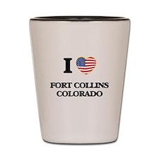 I love Fort Collins Colorado USA Design Shot Glass