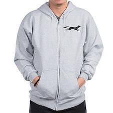 Distressed Fox Silhouette Zip Hoodie
