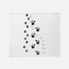 Distressed Animal Tracks Silhouette Throw Blanket